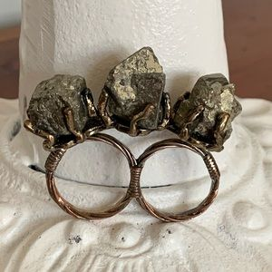 Raw Pyrite Fool's Gold Double Ring